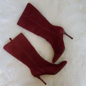 BCBGirls 8.5 B burgundy high heel boots women's